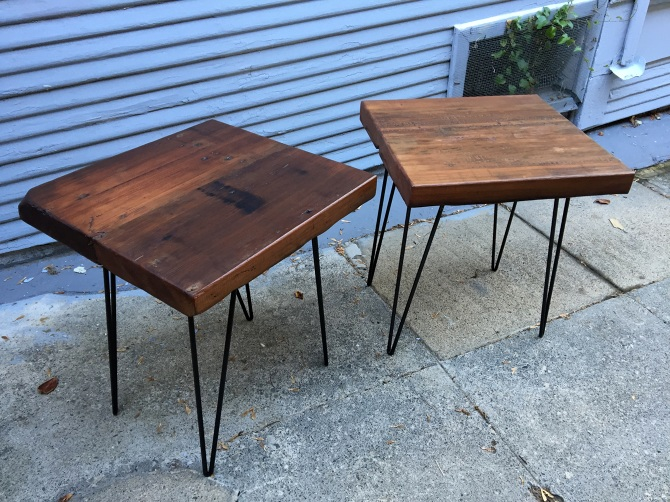 Reclaimed Water Tank Redwood End Tables. The Wood Was Sourced From A  Demolished Redwood Water Tank In Pacifica, CA. In House Made Steel Rod  Hairpin Legs.